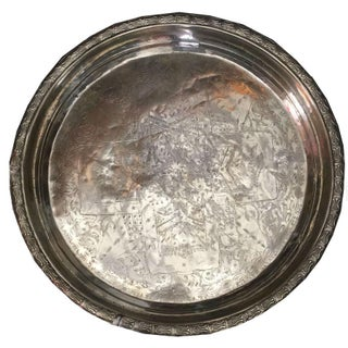 Paul Vintage Moroccan Silver Tray For Sale