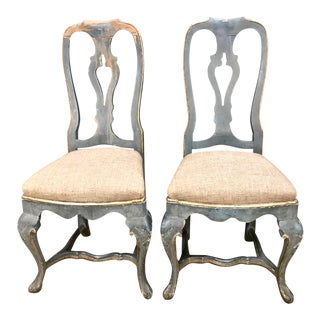 18th C. Swedish Gustavian Painted Side Chairs - A Pair For Sale