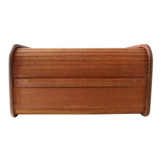 Kalmar Teak Wood Tambour Storage Box CD Organizer Danish Modern