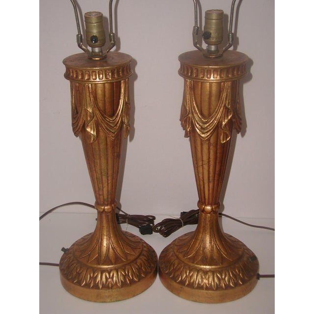 20th Century Rewired Italian Gilt Swag Lamps - 2 - Image 3 of 10