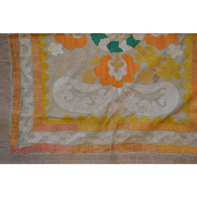 Traditional Uzbeki Ivory & Yellow Cotton Suzani Textile - 2'9″x3'3″ For Sale - Image 3 of 4