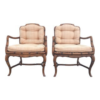 Vintage Faux Bamboo & Cane Chairs - A Pair