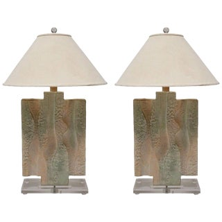 Textured Pastel Colored Table Lamps on a Lucite Base - A Pair For Sale