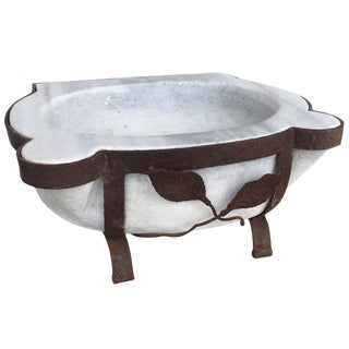 Classic Marble Hamam Sink in Iron Stand For Sale