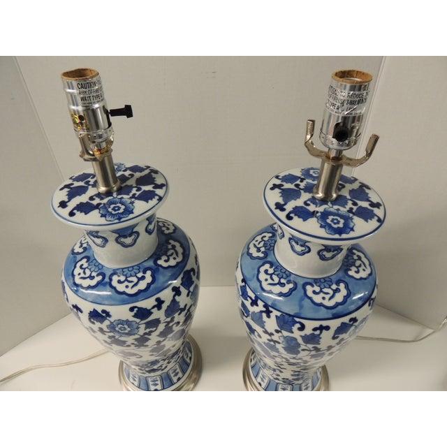 Vintage Blue & White Ceramic Lamps - Pair - Image 3 of 5