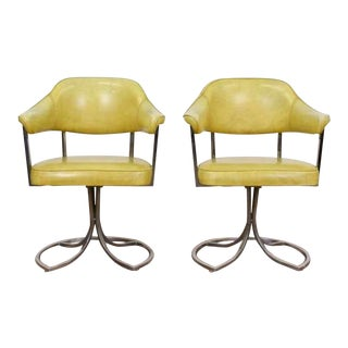 Yellow Vinyl Retro Arm Chairs - A Pair For Sale