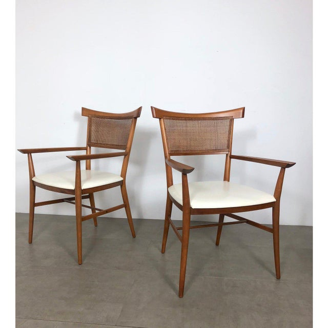 Asian Set of 10 Paul McCobb Cane Dining Chairs, Circa 1950's For Sale - Image 3 of 9