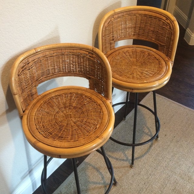 Vintage Seng of Chicago Wicker & Iron Stools - A Pair For Sale In Dallas - Image 6 of 7