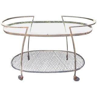 1950s Mid-Century Modern Oval Woodard Bar Cart For Sale