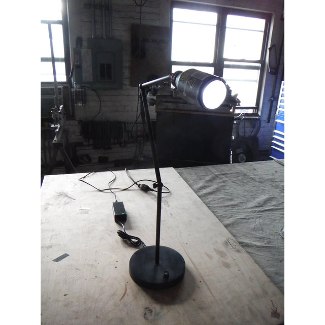 This mixed metal desk lamp is assembled from steel and brass. It has an aluminum vending machine coffee can shade the...