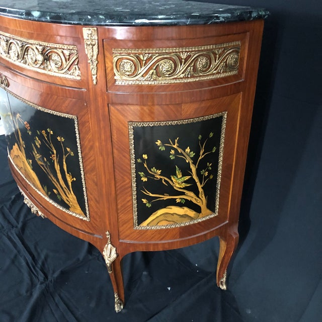 1950s French Louis XV Style Inlaid Demilune Buffet Cabinet Credenza For Sale - Image 5 of 13