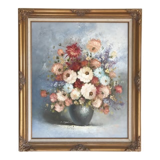 1980s Vintage Floral Still Life Painting By C. Carrol For Sale