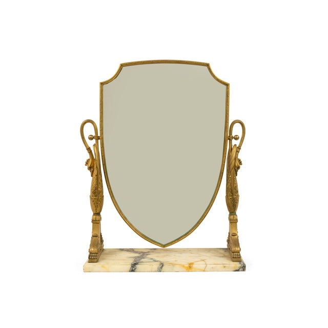 Empire French Empire Bronze Dore Swan Dressing Table / Vanity Mirror For Sale - Image 3 of 4