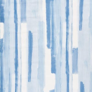 Schumacher Watercolor Wallpaper in Blue For Sale