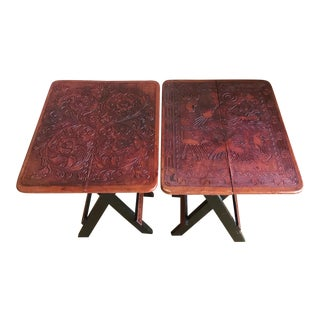 Vintage South American Intricately Hand Tooled Leather and Solid Wood Folding Side Tables - a Pair For Sale