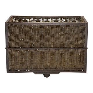 1910s Unusual Industrial Wicker and Metal Trolley For Sale