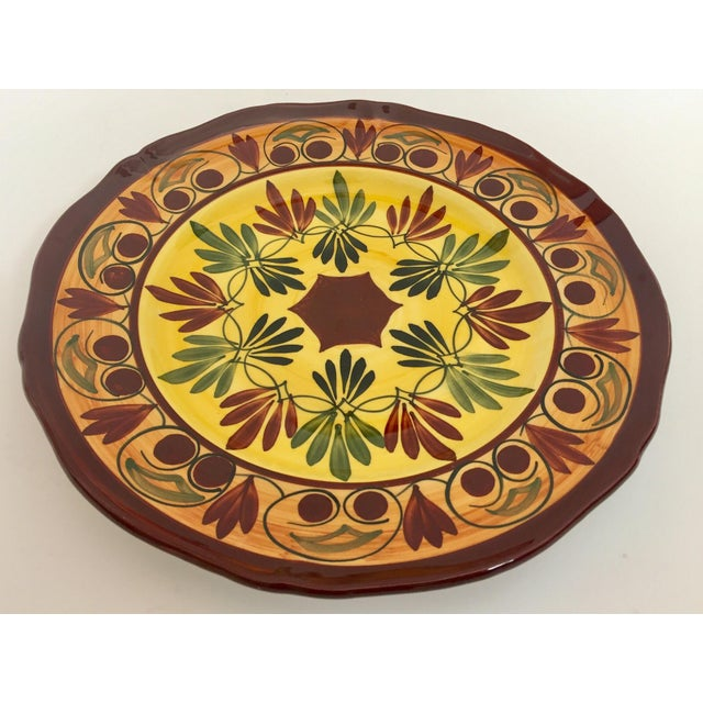 French Polychrome Hand Painted Ceramic Decorative Plate For Sale - Image 4 of 12