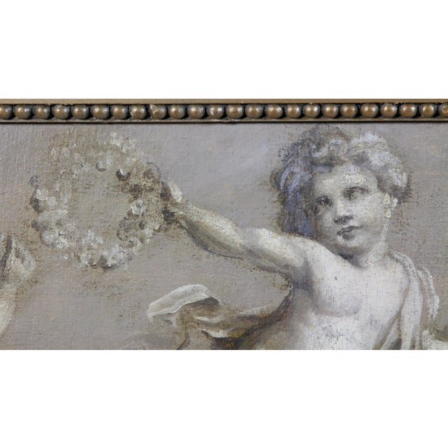 French Grisaille Oil Painting on Canvas of Putti For Sale - Image 4 of 8