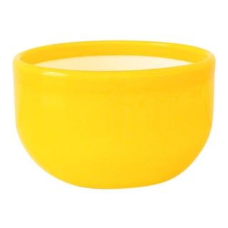 Mid Century Decorative Yellow Glass Bowl with White Interior For Sale
