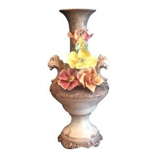 Vintage Capodimonte Majolica Porcelain Vase For Sale