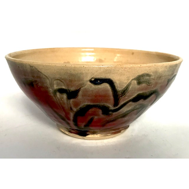 Ceramic Studio Pottery Drip Glaze and Oxblood Bowl Signed For Sale - Image 7 of 11