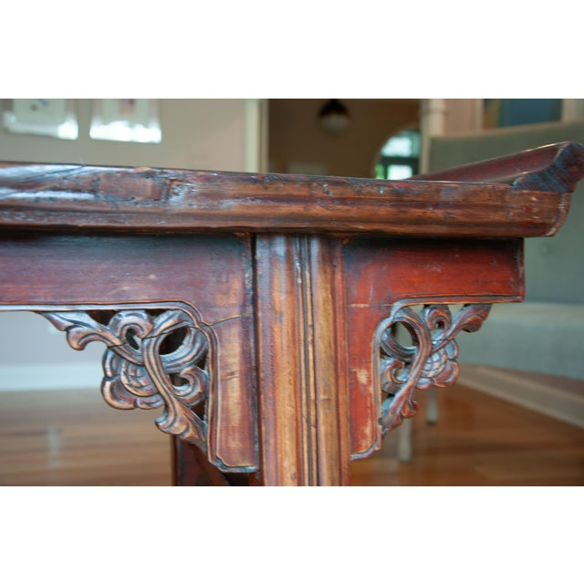 Chinese Red Altar Console Table For Sale - Image 9 of 13