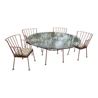 Hand-Made Mid Century Modern Wrought Iron Patio Set- 5 Pieces For Sale