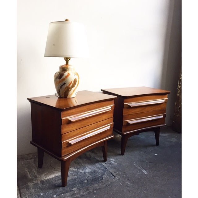Mid-Century Mahogany Nightstands - A Pair - Image 2 of 5