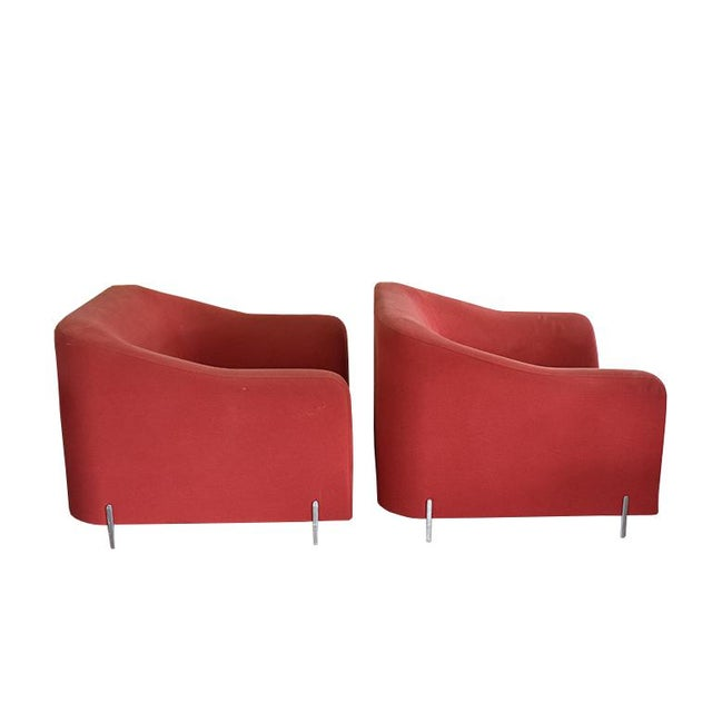 Bauhaus Late 20th Century Eric Jourdan for Ligne Roset Snowdonia Upholstered Armchairs - a Pair For Sale - Image 3 of 11