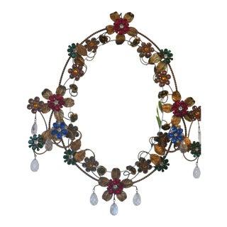 Vintage Swarovski Trimmed Floral Mirror For Sale