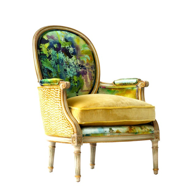 Upholstered French Bergere Armchair For Sale