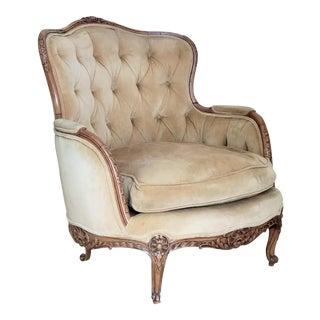 Vintage, Camel Color Tufted Velvet Armchair For Sale