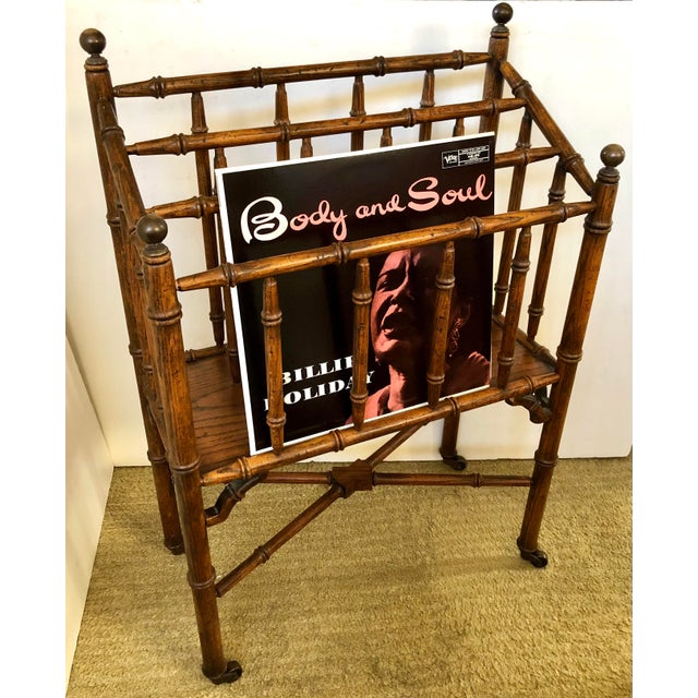 Faux Bamboo Canterbury Magazine/File/Lp Rolling Rack For Sale - Image 9 of 10