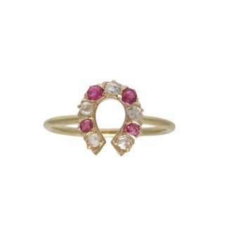 Edwardian 14k Gold Ruby & Diamond Horse Shoe Conversion Ring For Sale