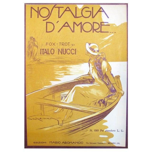 1925 Italian Music Sheet Love's Memory For Sale