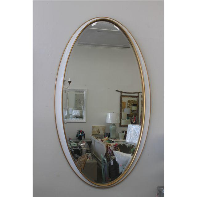 White and Gold Oval Mirror For Sale - Image 4 of 5