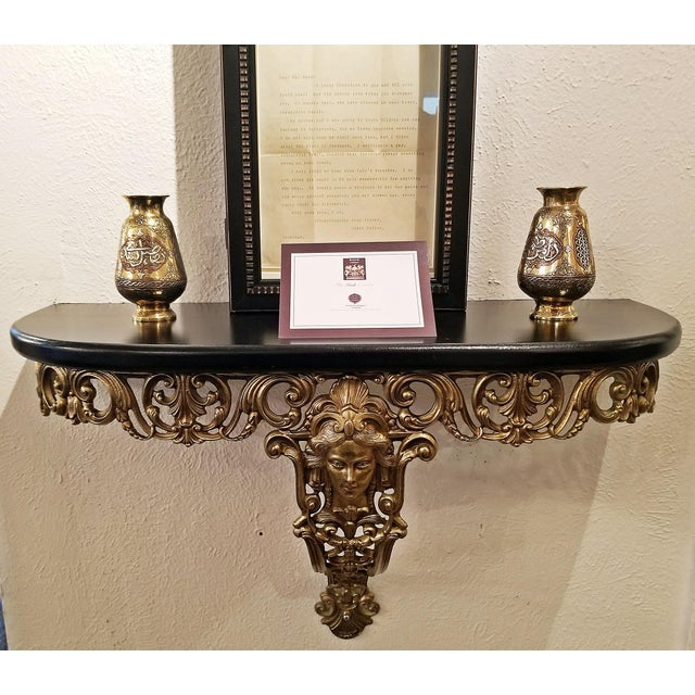 Gold Early 20c French Art Nouveau Style Brass Wall Bracket Shelf For Sale - Image 8 of 10