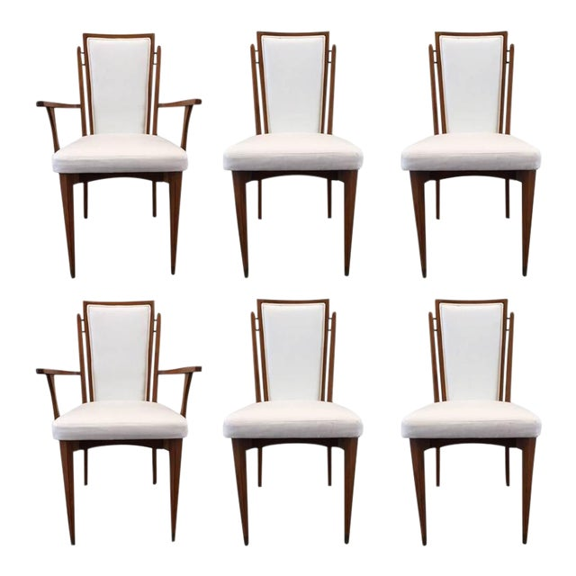 Set of Six Walnut Italian Dining Chairs - Image 1 of 8