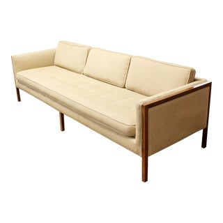 Mid Century Modern Sofa Wood Framed Probber Knoll Attributed 1960s For Sale