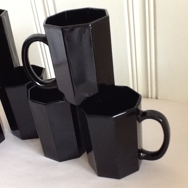 Ebony Ceramic French Mugs - Set of 6 For Sale - Image 10 of 11