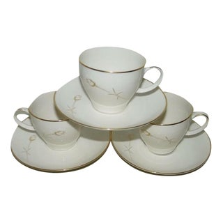 Vintage Noritake Nora Teacup Saucer Sets - Set of 3 (6 Pieces) For Sale