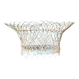 Vintage Decorative Woven Wire Basket, White Oval, 1950s American For Sale
