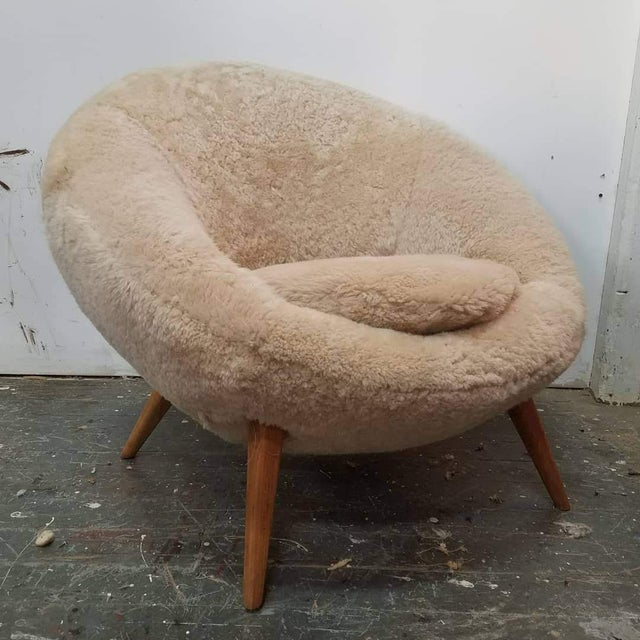 Jean Royère 1950s Swedish Modern Jean Royere Style Sheepskin Chair For Sale - Image 4 of 4