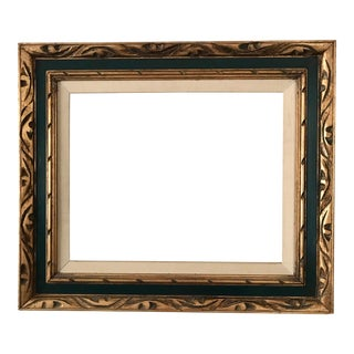 Gold Carved Linen Matted Frame Vintage For Sale