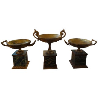 1920's Italian Neoclassical Style Carved Gilt Wood Urns - Set of 3 For Sale