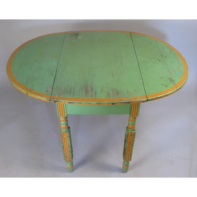 French Country Antique 1920s Hand Painted Drop-Leaf Dining Table For Sale - Image 3 of 8