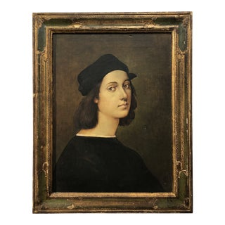 Early 20th Century Italian Painting a Copy by Raphael in Florentine Frame For Sale