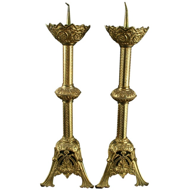 Antique French Altar Candlesticks - A Pair - Image 1 of 8