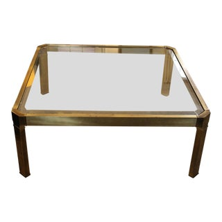 1970's Large Mid-Century Modern LaBarge Brass and Glass Coffee Table For Sale