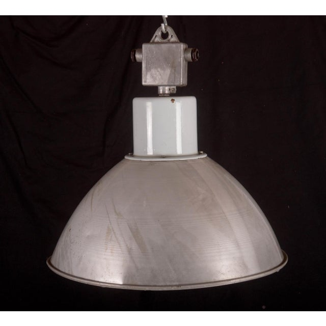 Industrial Large Czech Industrial Hanging Lamp in Gray, 1960s For Sale - Image 3 of 8